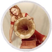 60s Pin Up Girl With Vintage Record Phonograph Round Beach Towel