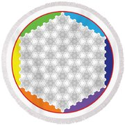 64 Tetra Flower Of Life Round Beach Towel