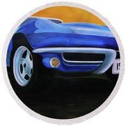 66 Corvette - Blue Round Beach Towel