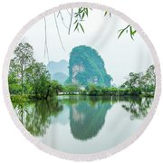 Karst Rural Scenery In Spring Round Beach Towel