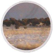 Snowy Desert Landscape Round Beach Towel