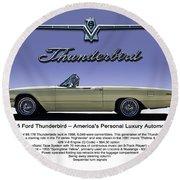 '66 Thunderbird Convertible Round Beach Towel