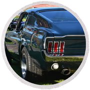 67 Mustang Fastback Round Beach Towel