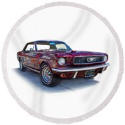 69 Ford Mustang Round Beach Towel by Mamie Thornbrue
