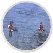 69- Paddle Boarders Round Beach Towel