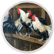 #69 - Roosters Round Beach Towel