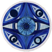 6th Mandala - Third Eye Chakra  Round Beach Towel