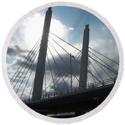 6th Street Bridge Backlit Round Beach Towel