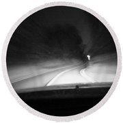 7-19-16--3467 Black And White, The Drive Home, Don't Drop The Crystal Ball Round Beach Towel