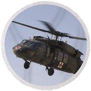 A Uh-60 Blackhawk Medivac Helicopter Round Beach Towel