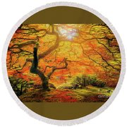 7 Abstract Japanese Maple Tree Round Beach Towel