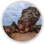 Agglestone Rock - England Round Beach Towel