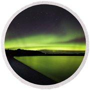 Aurora Borealis Over Iceland Round Beach Towel