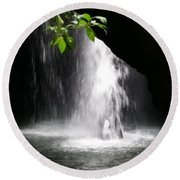 Australia - Peering Into Natural Arch Waterfall Round Beach Towel