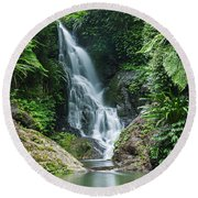 Beautiful Waterfall Round Beach Towel