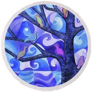7 Birds On A Tree Round Beach Towel