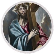 Christ Carrying The Cross Round Beach Towel
