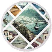 Collage Of Rio De Janeiro Round Beach Towel