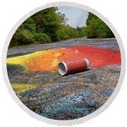 Discarded Spray Paint Can Round Beach Towel