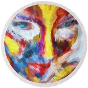 Face Paint Round Beach Towel