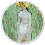 Girl In White Round Beach Towel