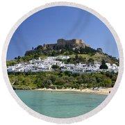 Greece Round Beach Towel