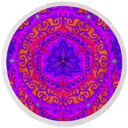 Indian Fabric Pattern Round Beach Towel