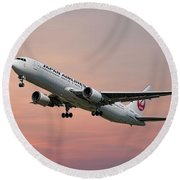 Japan Airlines Boeing 767-346 Round Beach Towel