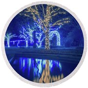 Lights, Christmas, Light, Christmas Tree, Green, Color, Red, Blu Round Beach Towel