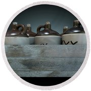 Moonshine In Wooden Crate Round Beach Towel