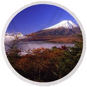Mount Fuji In Autumn Round Beach Towel