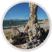 Natural Rock Formation At Mono Lake, Eastern Sierra, California, Round Beach Towel