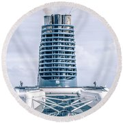On Deck Of Huge Cruise Liner Ship From Seattle To Alaska Round Beach Towel