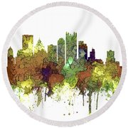 Pittsburgh Pennsylvania Skyline Round Beach Towel