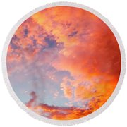 Red Cloudscape At Sunset. Round Beach Towel