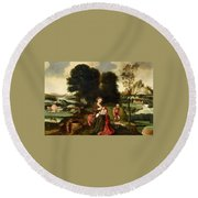 Rest On The Flight Into Egypt Round Beach Towel