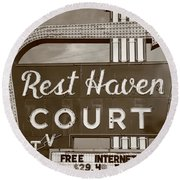 Route 66 - Rest Haven Motel Round Beach Towel