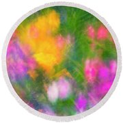 Summer Impression Series Panorama - Flowers Round Beach Towel by Ranjay Mitra
