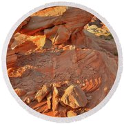 Sunrise On Valley Of Fire Round Beach Towel