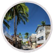 Tuk Tuk Trike Taxi Local Transport In Boracay Island Philippines Round Beach Towel