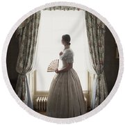 Victorian Woman At The Window Round Beach Towel