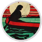 Vintage Hawaiian Art Round Beach Towel