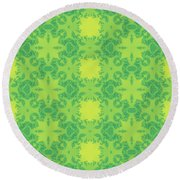 Fractal Floral Pattern Round Beach Towel