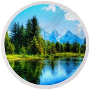 Landscape Drawing Nature Round Beach Towel