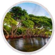 Nature Original Landscape Painting Round Beach Towel