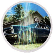 Classic Cars Round Beach Towel