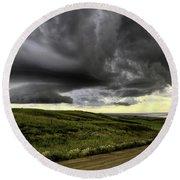 Storm Clouds Saskatchewan Round Beach Towel