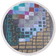 #767 Absttract Drawing Round Beach Towel