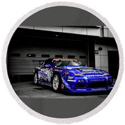 7763 Nissan Tuning Race Cars Blue Cars Selective Coloring Round Beach Towel
