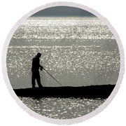78. One Man And His Rod Round Beach Towel